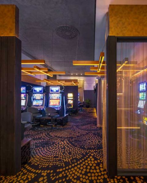 View back towards the gaming room at The Arthouse Hotel, design by Paul Kelly Design