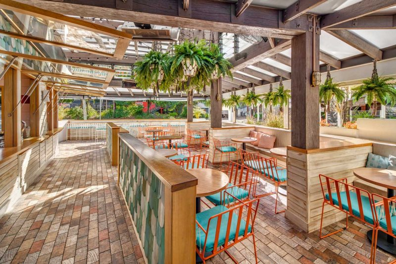 Wide shot of outdoor dining area at Betty's Burgers by Paul Kelly Design