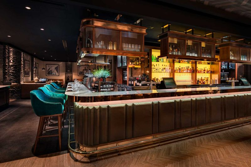 Beautiful bar design at The Bourbon, design by Paul Kelly Design