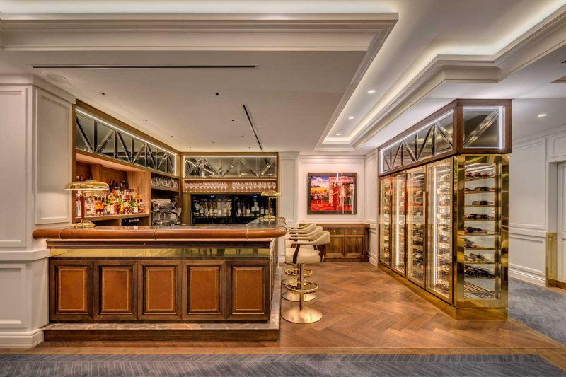 Private Club design by Paul Kelly Design showing floor, bar and wine rack details