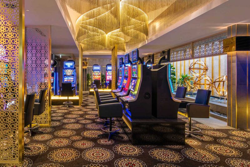Wide shot of the award winning Gregory Hills Hotel gaming room, design by Paul Kelly Design