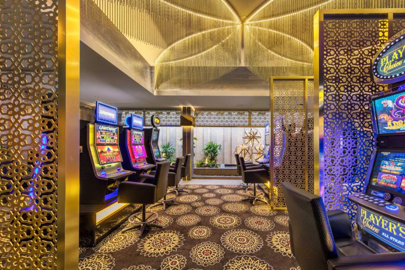 Ceiling features and room dividers at the Gregory Hills Hotel, design by Paul Kelly Design