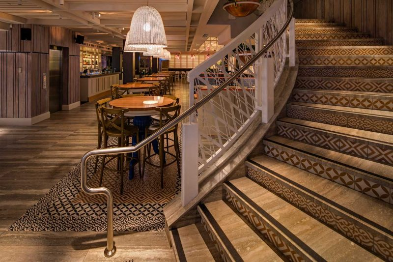 Detailed image of inlaid patterns in the stairs at The Ivanhoe Hotel by Paul Kelly Design