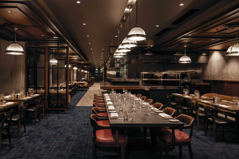 Long table and fine dining at Marble and Grain interior design by Paul Kelly Design