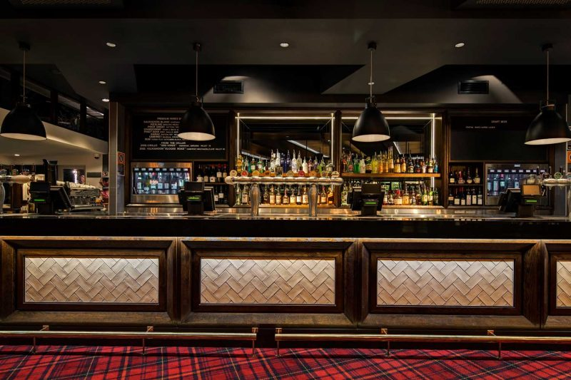View of the bar at The Oaks, design by Paul Kelly Design