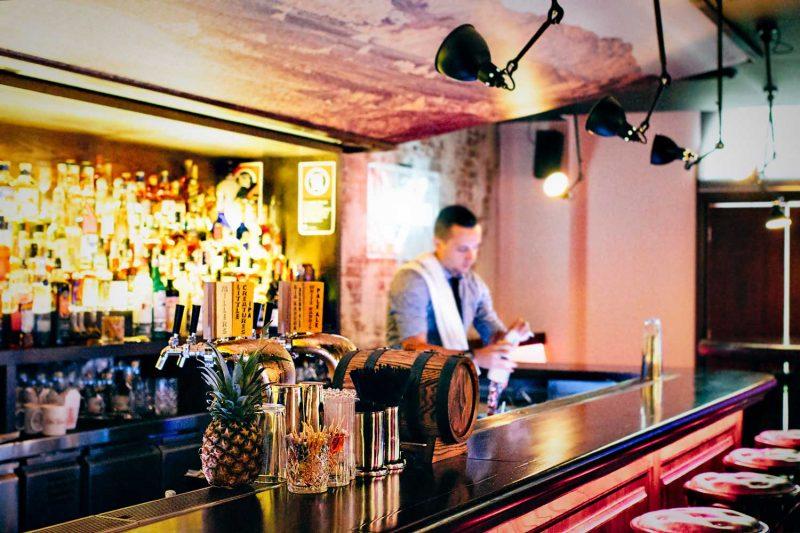 Barman at work at the Smoking Panda Paul Kelly Design