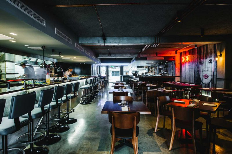 View inside Salaryman, looking from the rear of restaurant back towards the front door. Design by Paul Kelly Design