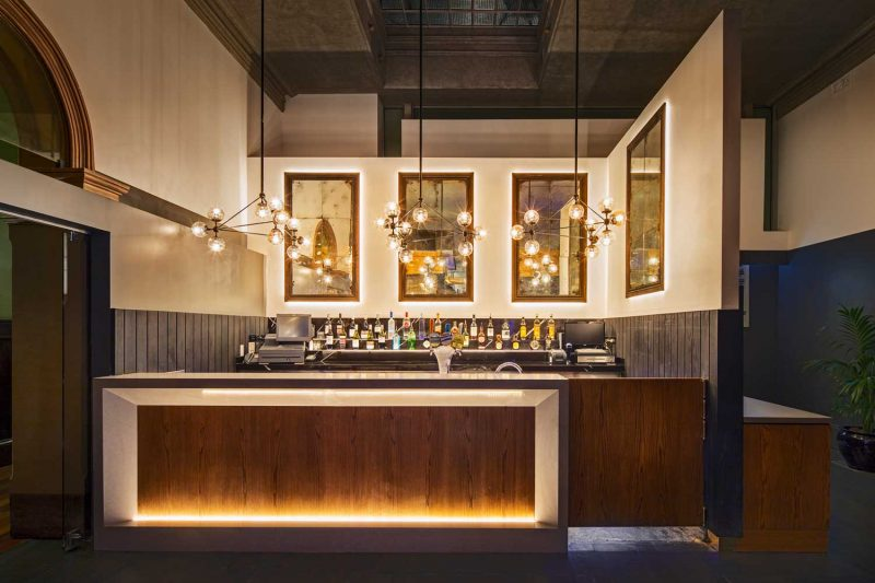 View of the bar at The Arthouse Hotel, design by Paul Kelly Design