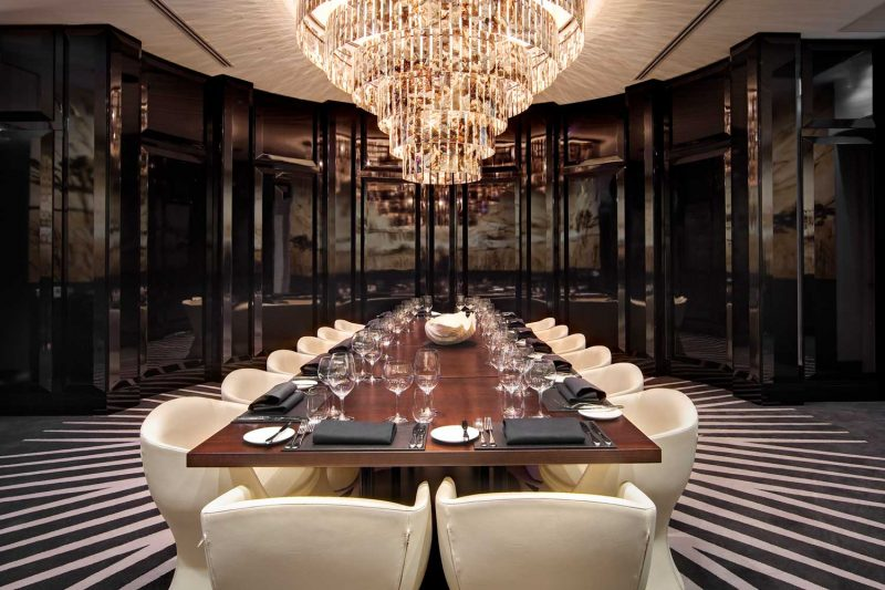 Exceptional dining area at Black by Ezard, interior design by Paul Kelly Design