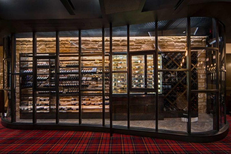 Detailed wine storage room at The Oaks, design by Paul Kelly Design