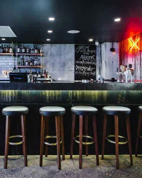 Stools at the bar at Salaryman, design by Paul Kelly Design