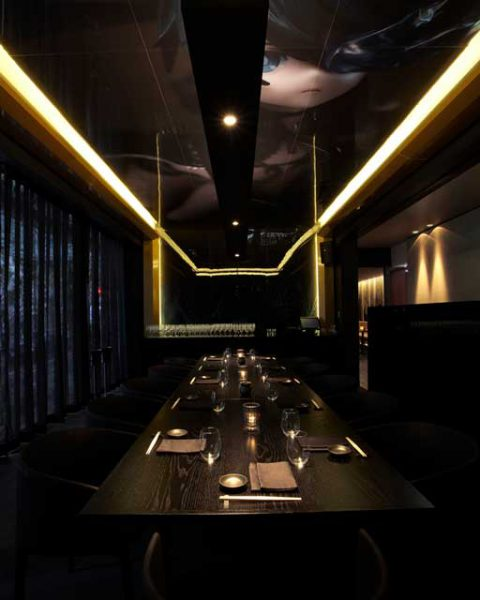 Private dining room at Sokyo with manga ceiling mural, design by Paul Kelly Design