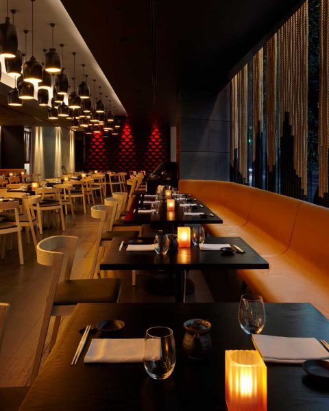 Dining spaces at Sokyo, design by Paul Kelly Design